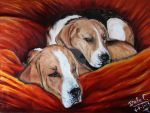Sleeping Beagles by palemoonwolf