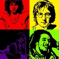 Morrison, Lennon, Hendrix and Marley by hero-thijs