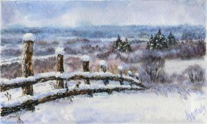 Winter landscape 11. Watercolour. by alartstudio