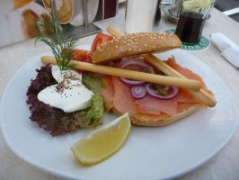 stop the hunger salmon bagel in BUDAPEST Vaci utca by Rikitza