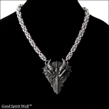 Great Dragon Spirit on Round Chainmaille Necklace by GoodSpiritWolf