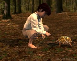 Boy and Turtle by Zethara