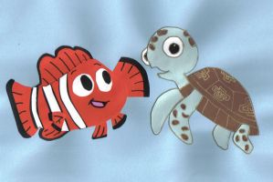 Nemo and Squirt by crazybluefrogg