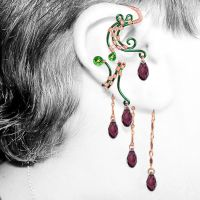 Amethyst and Green Ear Wrap and Cuff Set- SOLD by YouniquelyChic