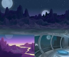Alien Homeworld- Background Design Class by CanineHybrid