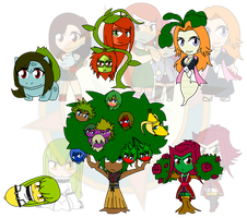 Assorted Chibis - AU Garden Folk by Dragon-FangX
