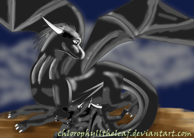 Black dragon and the baby dragon by Chlorophylltheleaf