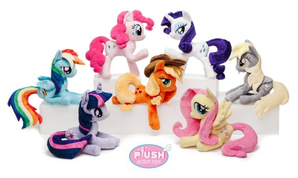 14.5 inch Mane 6 + Derpy Poseable Plush Ponies MLP by PlushActionToys