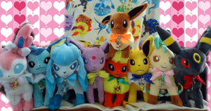 Eevee Pkmn Center Plushies Complete by kiraradaisuki