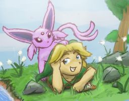 I wanna see too! Link and Espeon by Jo-Onis