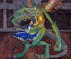 Alice and the Jabberwock by Sahan