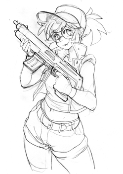 Fio from Metal Slug  -Sketch- by KarlaDiazC