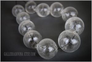 Big blown glass beads in clear by Faeriedivine