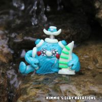 Polymer Clay Robot I Love Sailing Figurine by KIMMIESCLAYKREATIONS