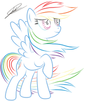 MLP:FiM - Rainbow Dash - LineColorArt by DSonic720