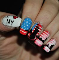 New York inspired nail art by MadamLuck
