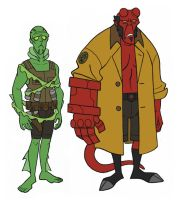 a version of hellboy and abe by jimmymcwicked