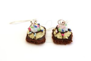 Sundae Earrings with Sprinkles by ClayConfectionary