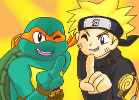 Request6 Mikey and Naruto by koju327