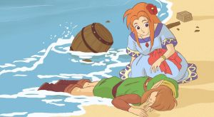 Link and Marin on the Beach by GoombaLink