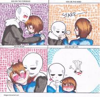 Underfell Sans and Frisk: kiss meme by Kitagami