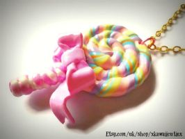Kawaii Lollipop Necklace, Pastel Yummy Candy by xhellojackiex