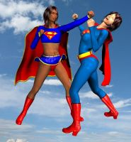 Super girl vs. superwoman by cattle6
