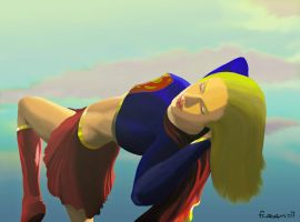 Supergirl Sleeping Blue Bird by Fladam