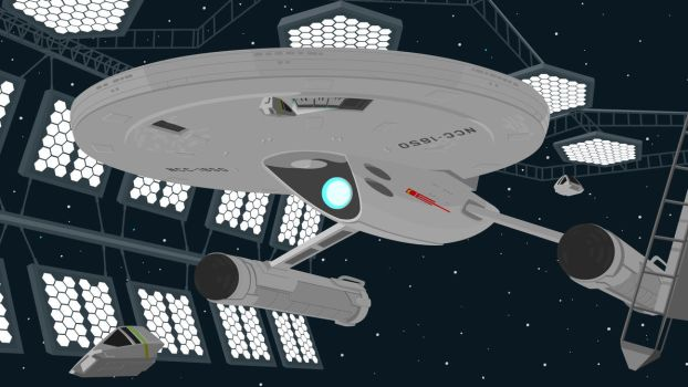 Axanar's USS Ares in spacedock [vector] by flash-and-blood