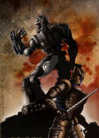 Dinobot and Hammerstein cover coloured by Bluetabbycat