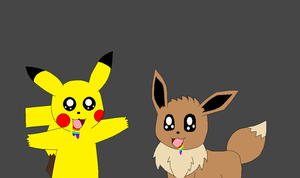 Pikachu and Eevee are infected by a joy virus by Kitsune257