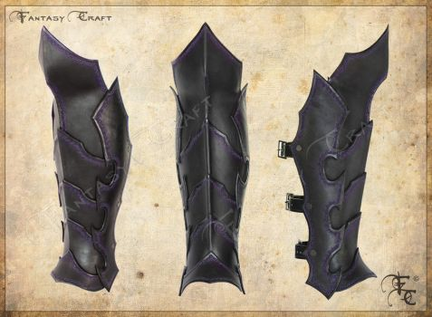 Drow or Dark Elf leather greaves by Fantasy-Craft