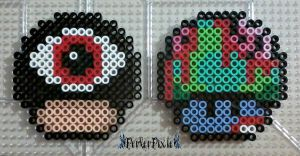 Scary Eye and Zombie Mushrooms by PerlerPixie