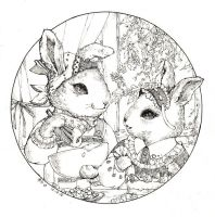 Two little rabbit by Zaozi-Nanaly