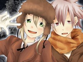 Soul and Maka Winter by gone-phishing