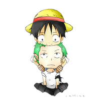 Luffy and Zoro by CallineXoP