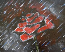 rose in the rain by waiwa
