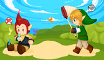 Link And Groose - pixel art by flopicas