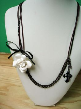 White rose, cross chains and leather necklace by Meeshah
