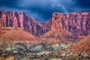 Black Sky's Over Red Rock HDR by mjohanson