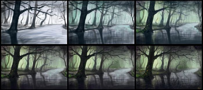 Fantasy forest process by Azot2017