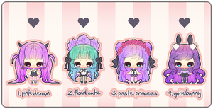 Pastel Goth Adopts! (CLOSED) by ametyu