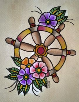 Traditional tattoo ' Ships Wheel ' by Psychoead