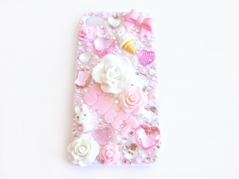 Pink and White Deco Bling iPhone 4/4s Case by Kuppiecake