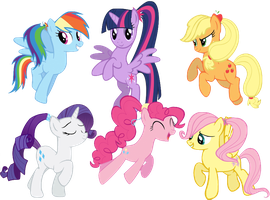 MLP Mane 6 Ponytails by WinxFloraBloomRoxy