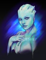 Liara's deep blue - Marker drawing by ellieshep
