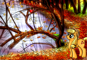 Autumn's Last Apple (Colored Version) by Lunell