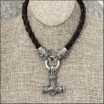 Large Mjolnir on Tribal Wolf Head Leather Necklace by GoodSpiritWolf