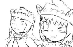 Soul Eater doodles-Liz and Pat by n00dle-gurl06
