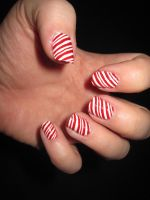 Candy Cane Nail Art by IndigoVelvet